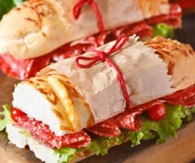 Delicious sausage sandwich Stock Photo 03