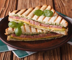 Delicious sausage sandwich Stock Photo 04