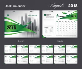 Desk Calendar 2018 green template vector material 01