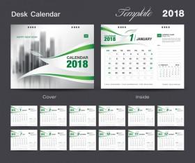 Desk Calendar 2018 green template vector material 02