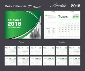 Desk Calendar 2018 green template vector material 03