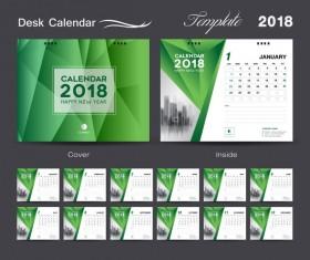Desk Calendar 2018 green template vector material 04