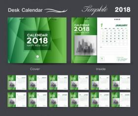 Desk Calendar 2018 green template vector material 05