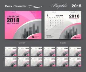 Desk Calendar 2018 template design with pink cover vector 01
