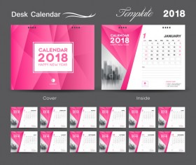 Desk Calendar 2018 template design with pink cover vector 02