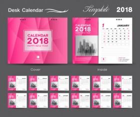 Desk Calendar 2018 template design with pink cover vector 06