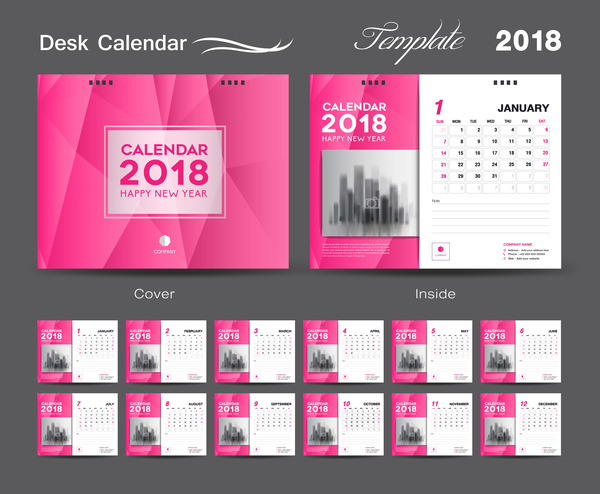 Desk Calendar 2018 template design with pink cover vector 06