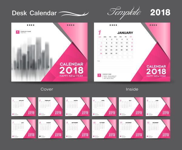 Desk Calendar 2018 template design with pink cover vector 07