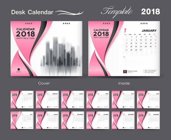 Desk Calendar 2018 template design with pink cover vector 08
