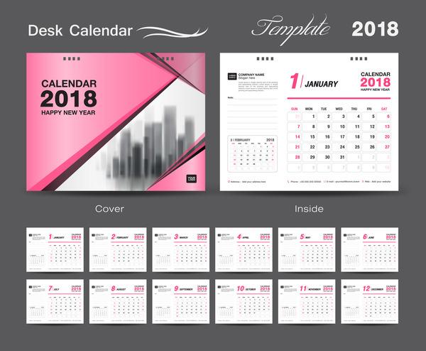 Desk Calendar 2018 template design with pink cover vector 09