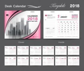 Desk Calendar 2018 template design with pink cover vector 10