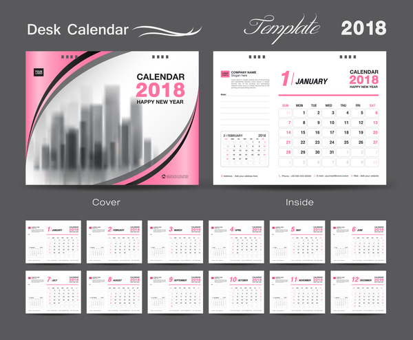 Desk Calendar 2018 template design with pink cover vector 10
