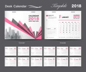 Desk Calendar 2018 template design with pink cover vector 11