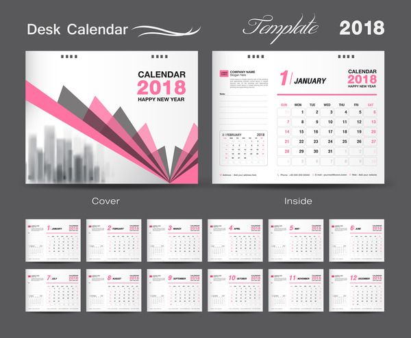 Desk Calendar 2018 template design with pink cover vector 11
