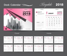 Desk Calendar 2018 template design with pink cover vector 12
