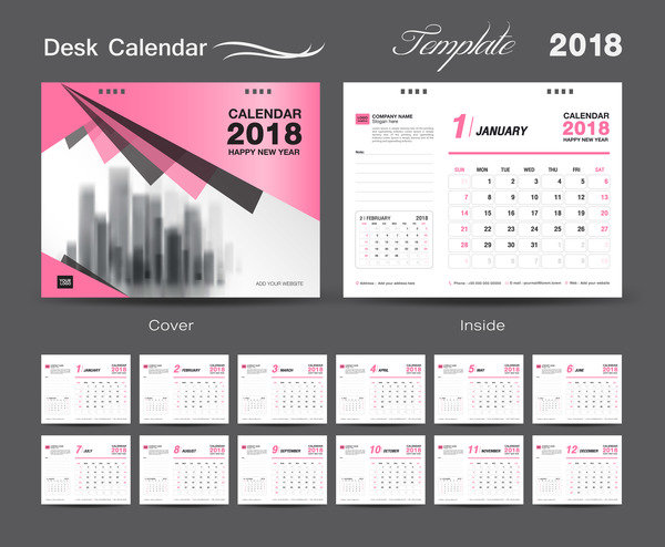 Desk Calendar 2018 template design with pink cover vector 12