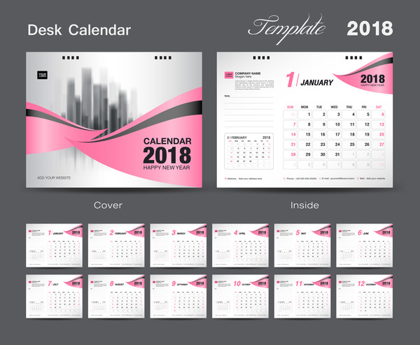 Calendar Cover 2018 : Desk calendar template design with pink cover vector