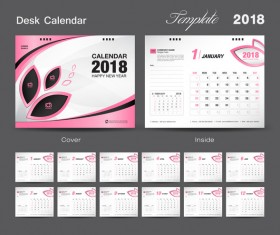 Desk Calendar 2018 template design with pink cover vector 14