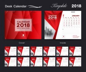 Desk Calendar 2018 template red cover design vector 01