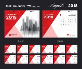 Desk Calendar 2018 template red cover design vector 02