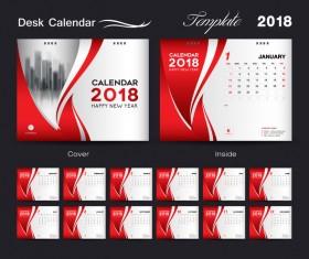 Desk Calendar 2018 template red cover design vector 03