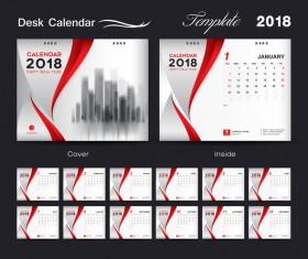 Desk Calendar 2018 template red cover design vector 04