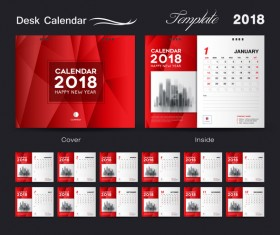 Desk Calendar 2018 template red cover design vector 05
