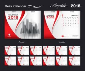 Desk Calendar 2018 template red cover design vector 06