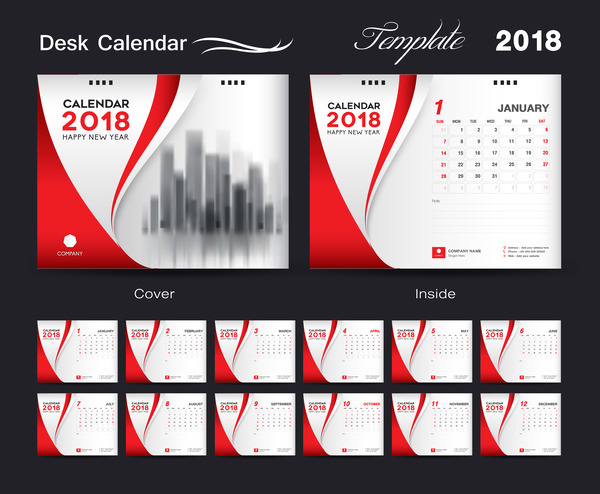 Desk Calendar 2018 template red cover design vector 06