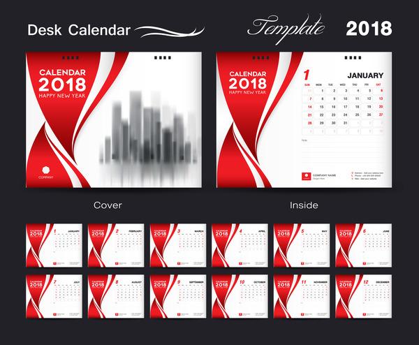 Desk Calendar 2018 template red cover design vector 07