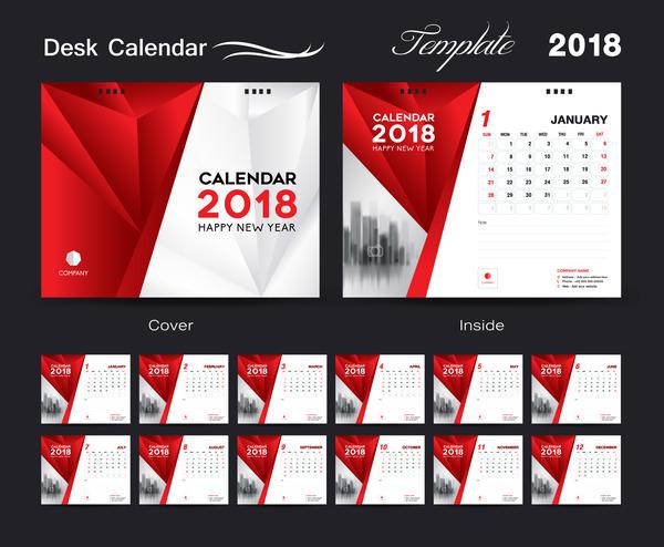 Desk Calendar 2018 template red cover design vector 08