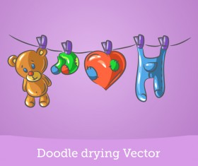 Doodle drying vector material