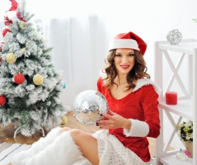 Dress up beautiful Christmas girl Stock Photo 01