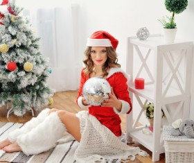 Dress up beautiful Christmas girl Stock Photo 02