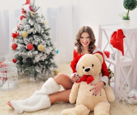 Dress up beautiful Christmas girl Stock Photo 03