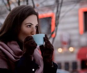 Drink coffee woman Stock Photo