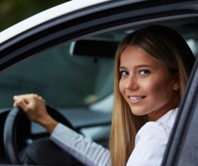 Driving car girl Stock Photo 01