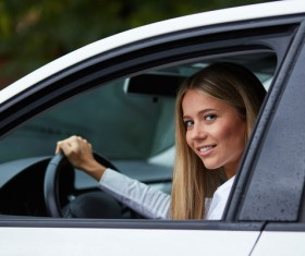 Driving car girl Stock Photo 02