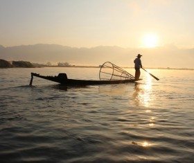 Early morning fisherman Stock Photo