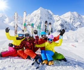 Family enjoying winter skiing fun Stock Photo 05