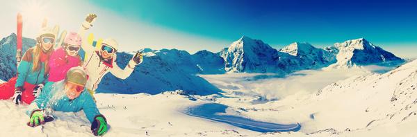 Family enjoying winter skiing fun Stock Photo 08