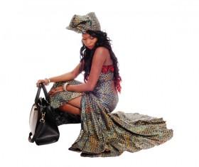 Fashion dressed dark skin woman Stock Photo