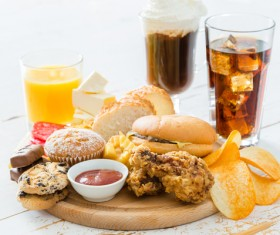 Fast food and drink on the table Stock Photo 01
