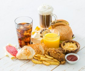 Fast food and drink on the table Stock Photo 02