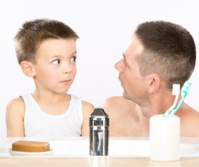 Father and son look on Stock Photo