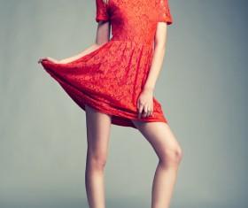 Female model wearing red skirt Stock Photo 02