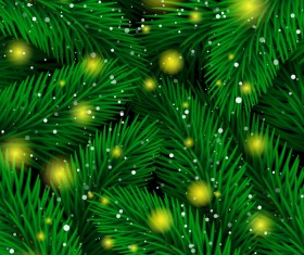 Fir branches seamless pattern with stars light vector