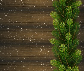 Fir branches with christmas wooden background vector