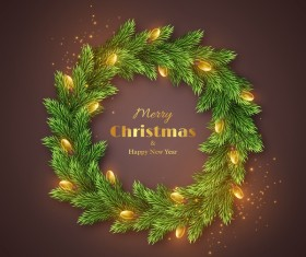 Fir branches wreath with new year card vector