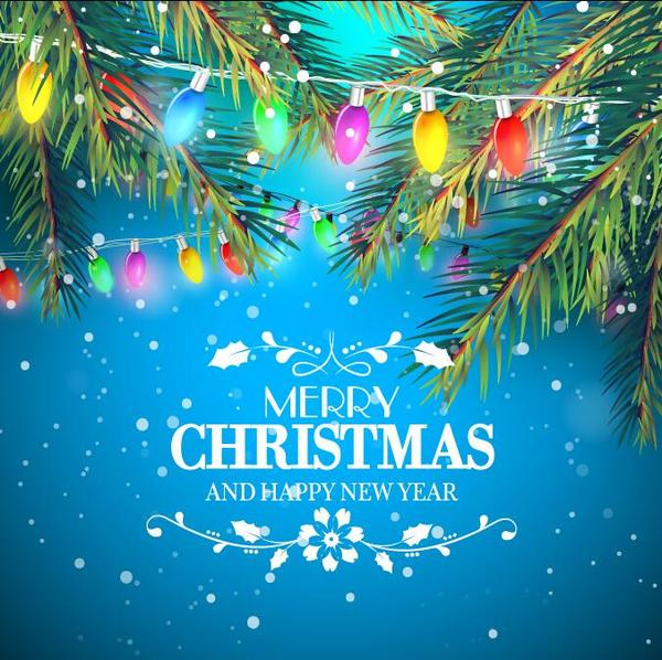 Fir tree with light bulb christmas background vector